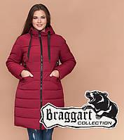 Braggart Diva 1960   Женская теплая куртка большого размера бордовая, фото 1