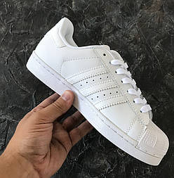 Мужские кроссовки Adidas Superstar Supercolor All white. Живое фото. Топ Реплика ААА+