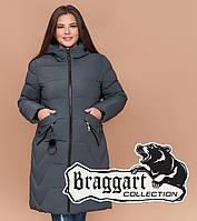 Куртка удлиненная большого размера Braggart Diva - 1901E серо-зеленая