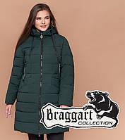 Куртка удлиненная большого размера женская Braggart Diva - 1960H темно-зеленая