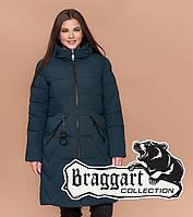 Куртка удлиненная большого размера Braggart Diva 1901M темно-зеленая