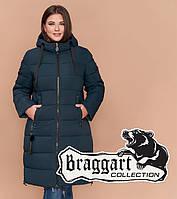 Куртка удлиненная большого размера женская Braggart Diva - 1923R темно-зеленая
