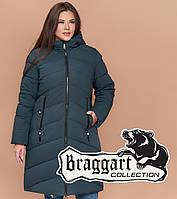 Куртка удлиненная большого размера женская Braggart Diva - 1909N бирюза