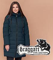 Куртка удлиненная большого размера женская Braggart Diva - 1960A темно-зеленая