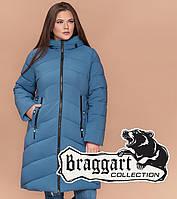 Куртка удлиненная большого размера женская Braggart Diva - 1909D темно-голубая