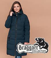Куртка удлиненная большого размера женская Braggart Diva - 1930J темно-зеленая
