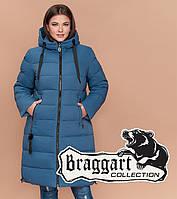 f7fbde0b280c Куртка удлиненная большого размера женская Braggart Diva - 1923B  темно-голубая