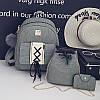 Набор 3в1 рюкзак + сумочка и визитница хаки экокожа опт