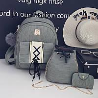 Набор 3в1 рюкзак + сумочка и визитница хаки экокожа опт, фото 1