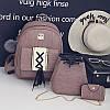 Набор 3 в1 рюкзак + сумочка и визитница экокожа, розовый, опт
