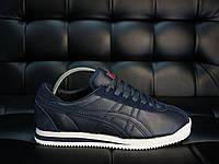 Кроссовки мужские Asics  кожаные  удобные стильные спортивные повседневные (синие), ТОП-реплика , фото 1