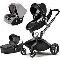 Детская коляска 3в1 Hot Mom Черно-белая эко-кожа Прогулочная, люлька и автокресло