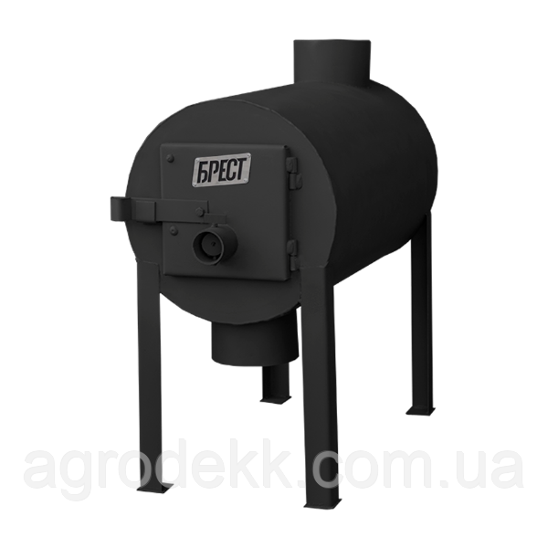 Отопительная печь на дровах Брест 200 с вертикальным выходом теплого воздуха