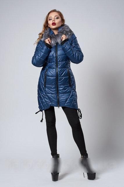Женская зимняя синяя куртка батал