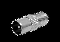 Разъем ТВ гнездо (F папа) коннектор-закрутка RG-6 (F-ка)