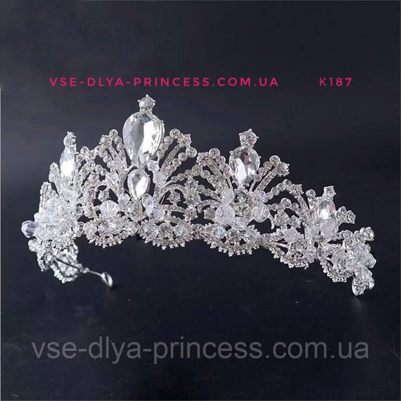 Свадебная диадема, корона под серебро, тиара, высота 6,5 см.