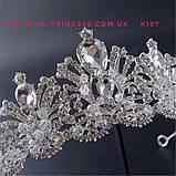 Свадебная диадема, корона под серебро, тиара, высота 6,5 см., фото 4