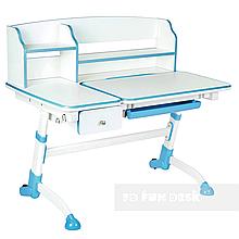 Парта трансформер для школяра для будинку FunDesk Amare II Blue з висувним ящиком