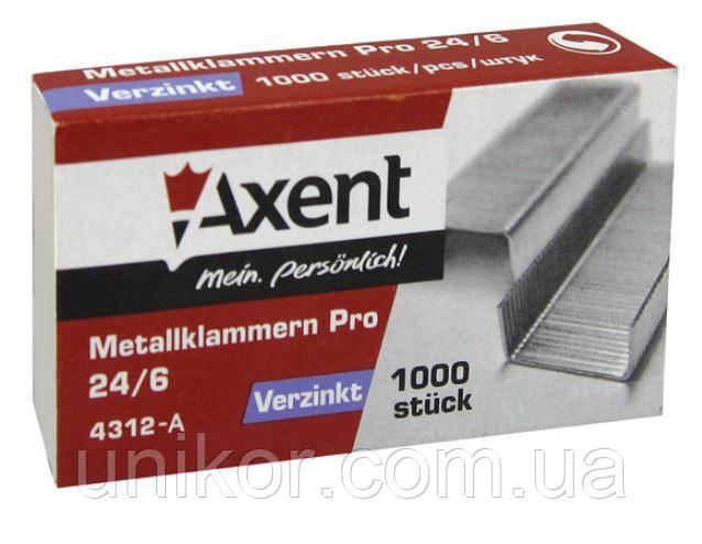 Скобы для степлера 24/6 (1000 шт). Pro до 30 листов. AXENT