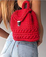 Рюкзак женский красный, плетеный рюкзак  ручная работа , фото 1