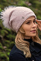 Шикарний жіночий комплект шапка з помпоном і хомут трикотажний в 4 кольорах KAREN-DAREN