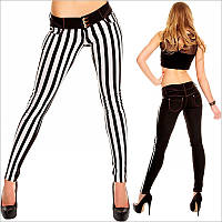 Женские облегающие штаны c ветрикальной полоской
