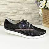 Женские туфли на утолщенной белой подошве, на шнуровке, натуральная кожа с тиснением питон., фото 2