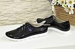 Женские туфли на утолщенной белой подошве, на шнуровке, натуральная кожа с тиснением питон., фото 3