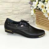 Туфли женские кожаные на шнуровке, с вставками из лаковой кожи., фото 2