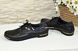 Туфли женские кожаные на шнуровке, с вставками из лаковой кожи., фото 3