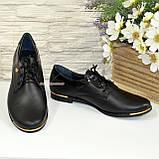 Туфли женские кожаные на шнуровке, с вставками из лаковой кожи., фото 4