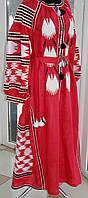 Жіноче вишите плаття з червоного льону