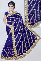 Легке індійське сарі розшите золотистими нитками №038