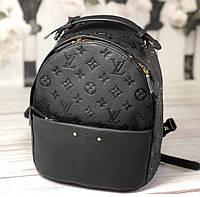 """Рюкзак женский брендовый кожаный """"Луи Виттон"""" черный с монограммой"""