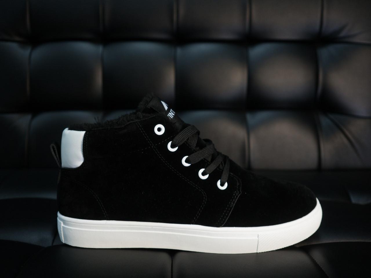 Кроссовки мужские Vintage замшевые стильные высокие на меху зимние черные с белой подошве, ТОП-реплика