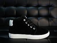 Кроссовки мужские Vintage замшевые стильные высокие на меху зимние черные с белой подошве, ТОП-реплика, фото 1