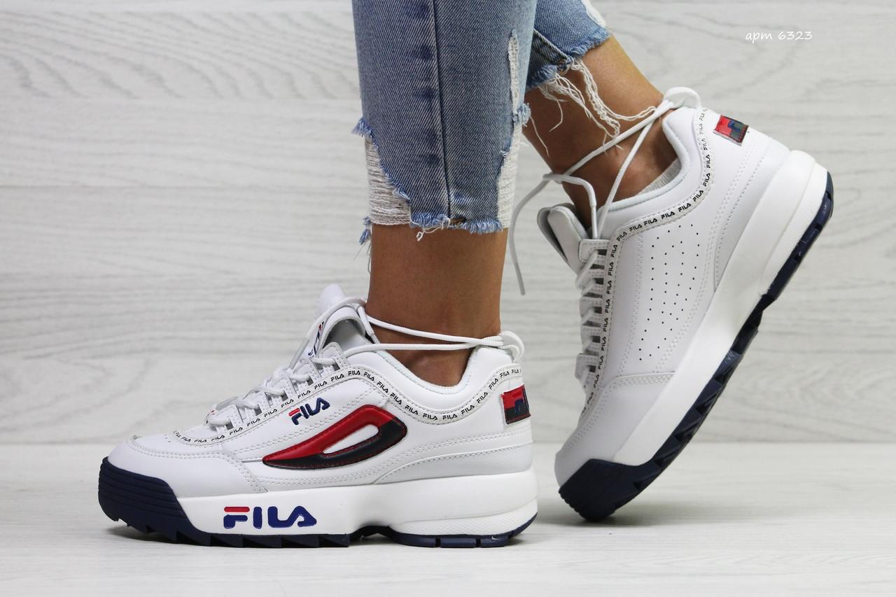 Женские кроссовки Fila,белые с красным
