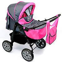 Детская коляска-трансформер для детейViki 86 Karina темно-серая с малиновой деткам от рождения до 3 лет