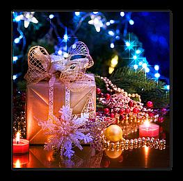 "Картина на стекле ""Новогодние игрушки"""