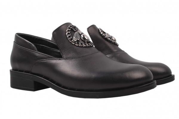 Туфли женские на низко ходу из натуральной кожи, черные Euromoda Турция