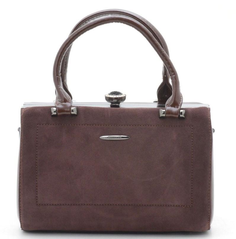 ec2f0cd18145 Женская сумка Gernas G-16880 coffee Женская каркасная сумка из замша