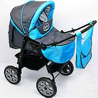 Детская коляска-трансформер для детей Viki 86 Karina темно-серая с голубой отделкой деткам от рождения