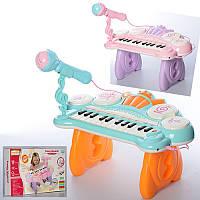 Детский синтезатор HY679-E, цена 418грн, на ножках, микроф, звук, свет,USB зарядка, на бат-ке, в кор-ке