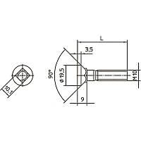 Спецболт 1199A М10х45 1199A потайной под квадрат с гайкой, артикул 62070-1199A-1045
