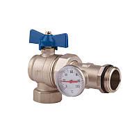 SD Кран амер.с термометром угловой 1''   SD222TW25