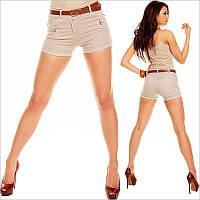 Короткие женские шорты бежевого цвета