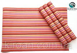 Коврики-подложки для сервировки стола (сетка) набор 4шт 30х45см (красный с розовым)