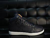 Кроссовки мужские Vintage зимние кожаные повседневные под джинсы высокие на меху (синие), ТОП-реплика, фото 1