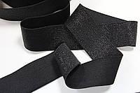 Резинка декоративная 40мм, черная+люрекс черный