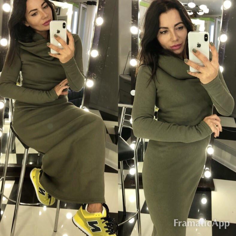 e2673b504d8 Теплое трикотажное платье с хомутом-капюшоном хаки 423.2 НН  продажа ...